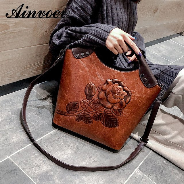 Anievoev Large Capacity Ladies Shoulder Bag Luxury For Women Women Handbag Rose Print Lady High Quality
