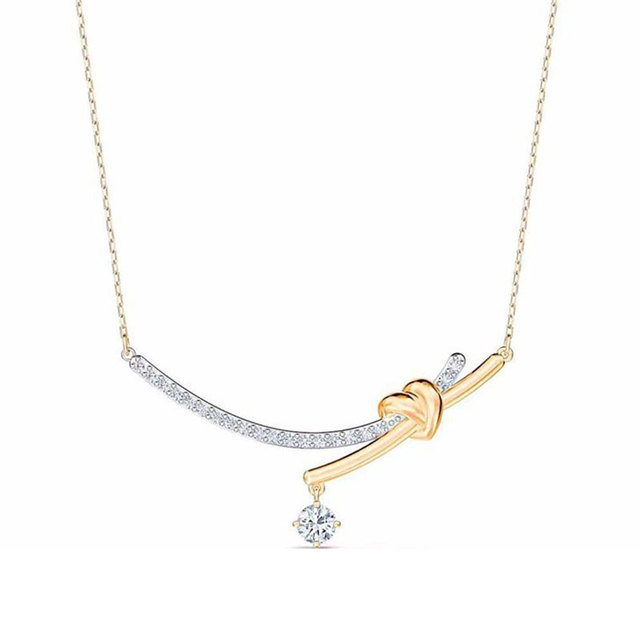 Romantic Simple Four Leaf CZ Rose 925 Sterling Silver Plated Clavicle Necklace