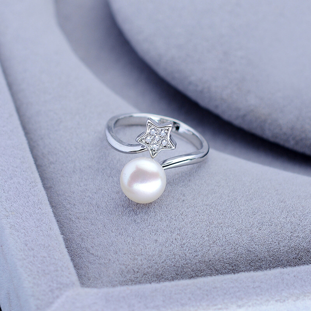 New Arrival FREE SIZE ADJUSTABLE Star Freshwater Pearl Ring Finger Ring Jewelry Nice Party Gift Present to Friend Lover