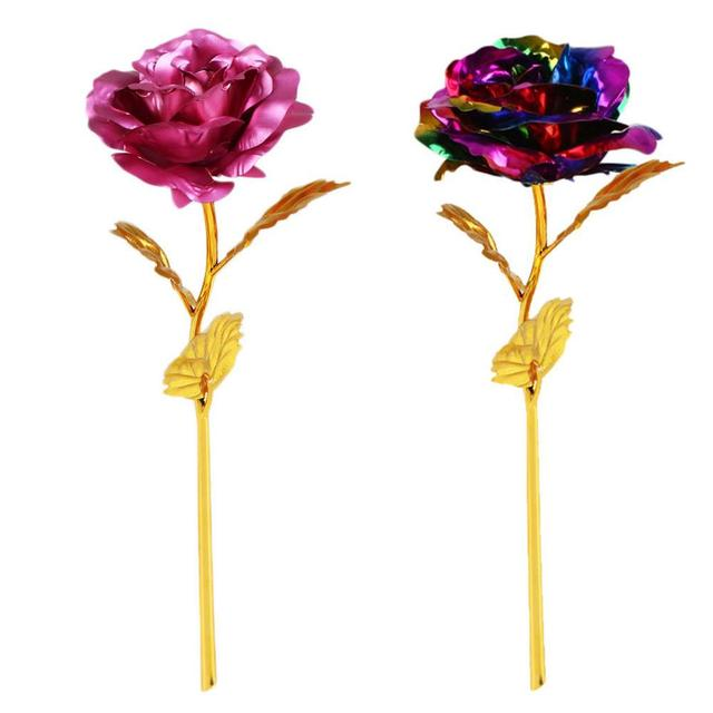 Romantic Rose Flower 24K Foil Plated Gold Rose Golden Rainbow  Beauty and the Beast Rose Valentine's Day Gift Wedding Decor 1Pcs