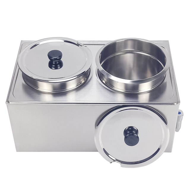 Commercial Electric stainless steel Bain Marie 2 pots kitchen Food warmer pool soup warmer with soup pot bainmarie buffet