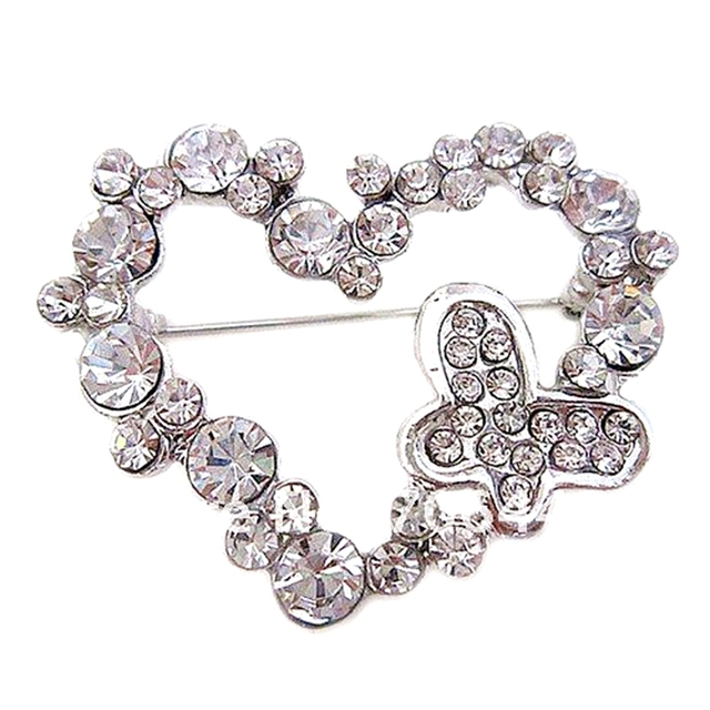 Silver Plated Rhinestone Crystal Heart and Butterfly brooch