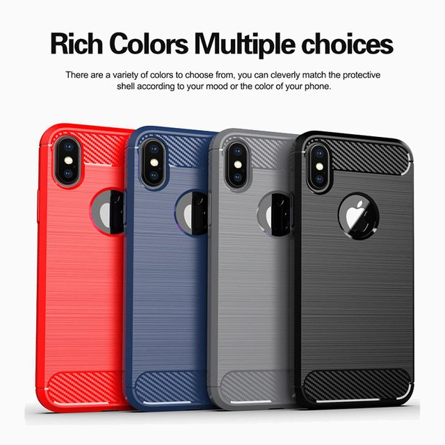 New Carbon Fiber Case for Apple iPhone X XR Xs Max Case 6 6S 7 8 Plus 5 5S SE 11 Pro Max Cover Soft Silicone Phone Back Cases