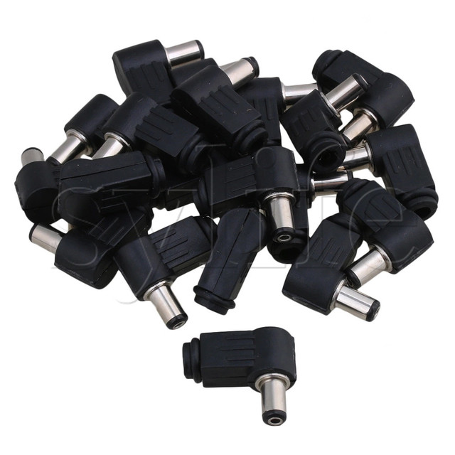 20pcs 5.5x2.1mm Right Angle DC Power Cable Male Plug Connector Adapter Soldering