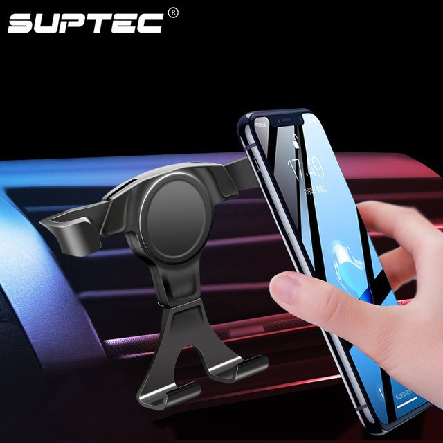 SUPTEC Gravity Car Phone Holder Air Vent Clip Mount Mobile Phone Holder for Phone in Car Stand Support for iPhone XS Samsung GPS