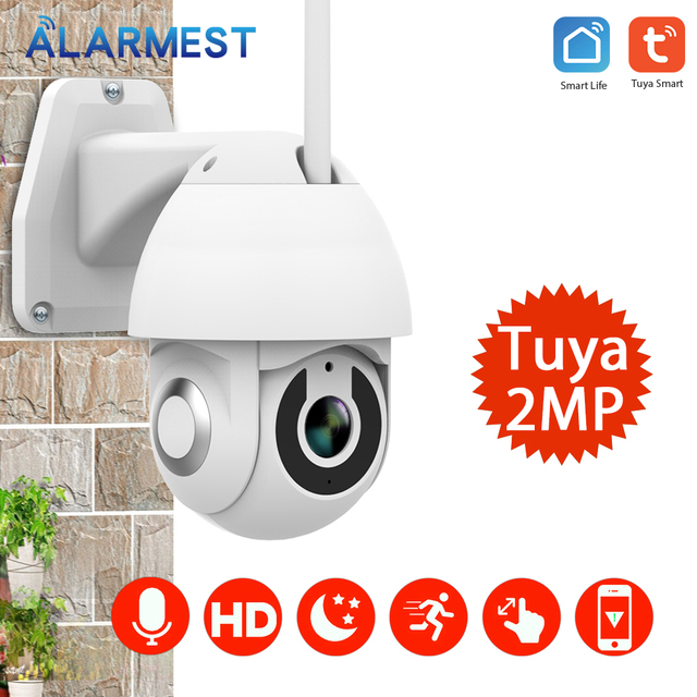 ALARMEST Tuya 1080P PTZ IP Camera Wifi Outdoor Speed Dome Wireless Wifi Security Camera  Network CCTV Security