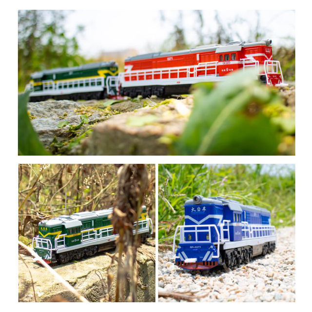 1:60 High simulation Diecast Toy Model China Classical DongFeng 5271 Locomotive Train Pull Back Sound Light Car