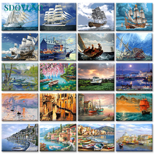 SDOYUNO 40x50cm Painting By Numbers Ship Digital Painting Landscape Boat On Cavans Frameless DIY pictures by numbers