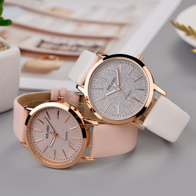 YOLAKO Women's Casual Quartz Leather Band Starry Sky Watch Analog Wrist Watch Faux Leather Women Quartz Wrist Watches