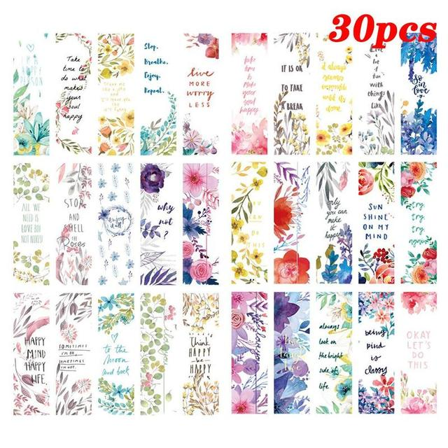 30pcs/set Beautiful Flowers Bookmarks Book Separation Page Literary Small Fresh Bookmarks School Office Supplies Paper Bookmark