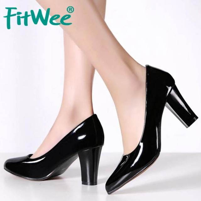 FITWEE Size 31-47 Women's Thick High Heel Shoes Women Sexy Party Patent Leather Heeled Pumps Office Pointed Toe Heel Footwear