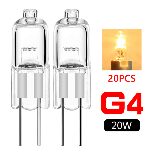 TSLEEN Top Quality 20Pcs/lot Halogen G4 12V Lamp JC Type G4 Halogen Light Bulbs Dimmable 20W G4 Base Clear Halogen