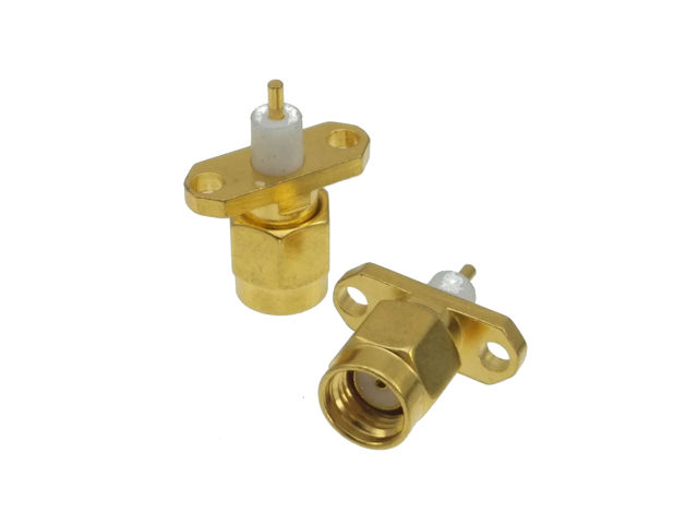 RP-SMA male jack 2 holes flange deck mount solder RF coaxial connector