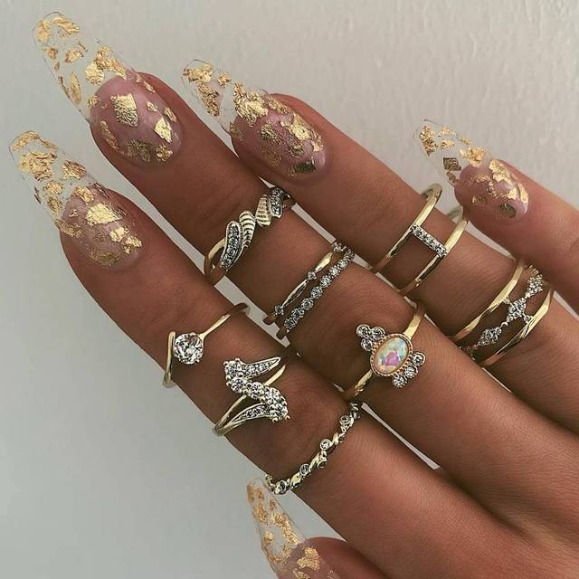 DIEZI 9pc/set Fashion Imitation Opal Knuckle Rings Set For Women Vintage Rhinestone Gold Water Drop Finger Joint Rings Jewelry