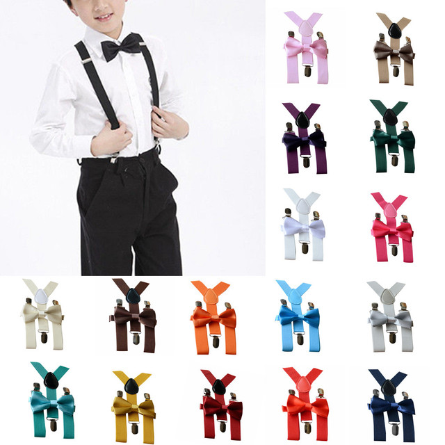 Multi Color Bow Tie Kids Set Kids Baby Boy Girl Adjustable Braces Elastic Suspenders And Bow Tie Set For 1-10 Year Old Children