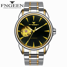FNGEEN Watch Men Skeleton Automatic Mechanical Watch Stainless Steel Skeleton Man Watch Mens Waterproof Watch Top Brand Luxury