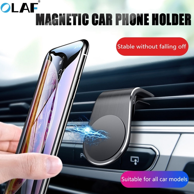 OLAF Magnetic Car Phone Holder L Shape Air Vent Mount Stand in Car GPS Mobile Phone Holder For iPhone X Samsung S10 Xiaomi Mi9