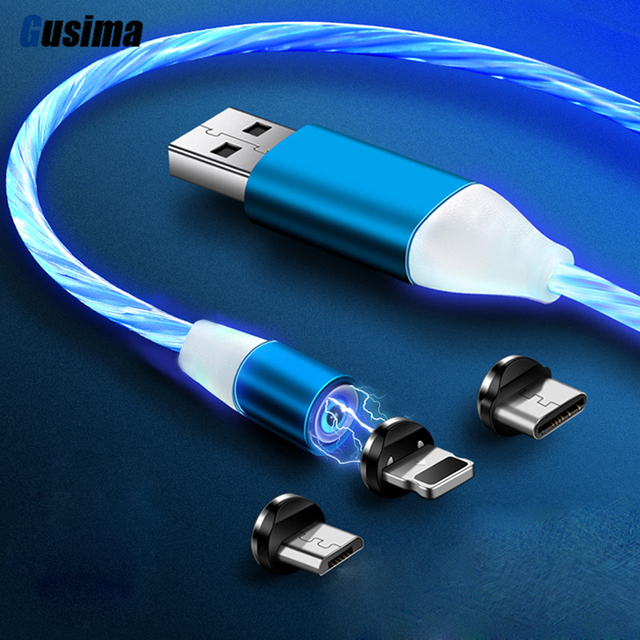 1M Magnetic Flowing Light Cable Fast Charging Magnet Micro USB Type C Cable For Samsung S9 S10 LED Wire Cord Type-C Charger
