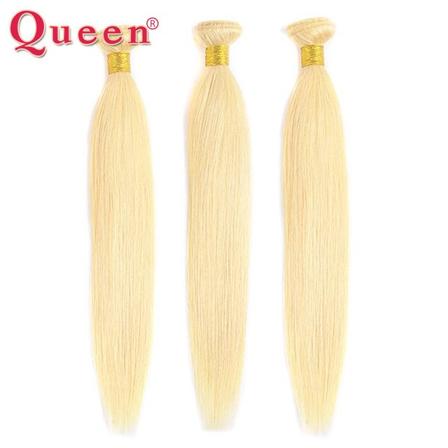 Queen Hair Products Brazilian Straight Hair Bundles 3 Bundles 613 Blonde Color Human Hair Non Remy Weave Hair Extensions