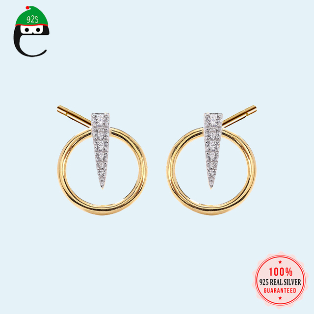 S925  Round Stud Earring  100% 925 Sterling Silver Jewelry CZ Stone Punk Spike Earrings for Women Drop Shipping DS1571