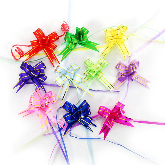 Gift Packing Pull Bow Ribbons 10pcs/lot Gift Wrapping Wedding Birthday Party Supplies Home Decoration DIY Pull Flower Ribbons
