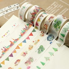 9 Types Washi Tape Cute Decorative Adhesive Tape Scrapbooking Stickers Masking Tape Diary DIY Stationery 1.5cm*7m