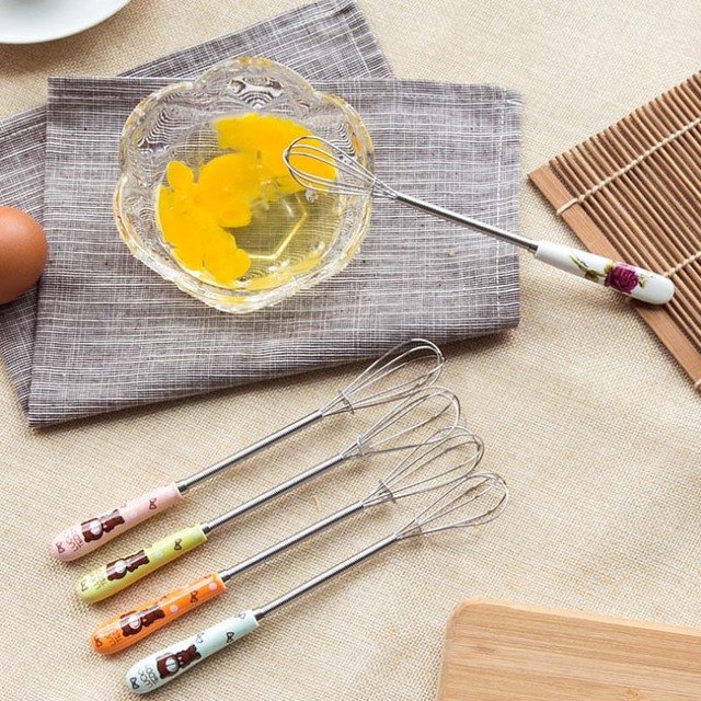 Kitchen Hand Egg Beaters Stainless Steel Egg Stirring Whisk Ceramic Handle Kitchen Gadgets Beaten Eggs Rotary Kitchen Tools