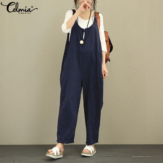 Celmia 2020 Fashion Women Vintage Linen Jumpsuits Summer Backless Sleeveless Casual Loose Long Dungarees Plus Size Overalls 5XL