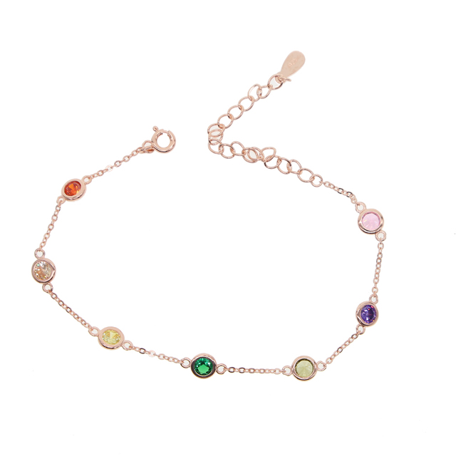 New Fashion 925 pure silver Heart Bracelet Delicate Simple Silver Chain Bracelet red green colorful cz crystal thin adjust