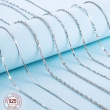 1pcs 100% Genuine 925 Sterling Silver Necklace Ingot Twisted Trace Belcher Snake Bar Singapore Box Chain Necklace Women