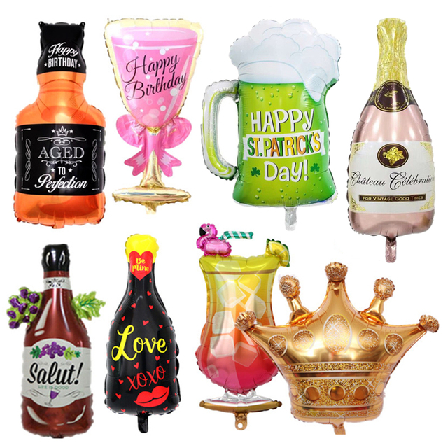 Wine Whiskey Beer Bottle Champagne Cup Foil Balloons Valentines Wedding Decors Air Balloon Birthday Party Decoration Supplies