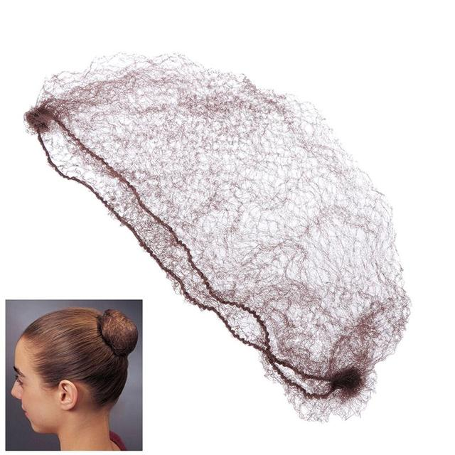 100pcs Reusable Hair Nets Invisible Elastic Edge Mesh Ballet Bun Dress-up Accessories for Women Girls(Coffee/50cm)