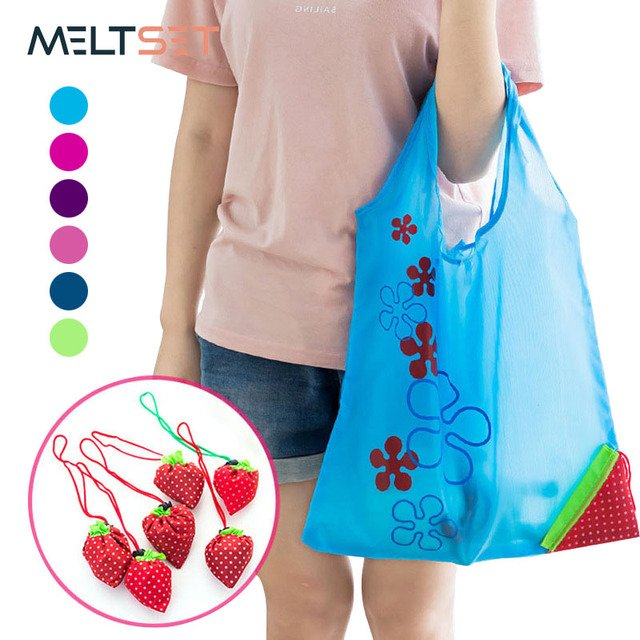Creative Strawberry Foldable Shopping Bag Portable Environmental Storage Bag Handbag Nylon Reuable Folding Grocery Eco Tote Bags