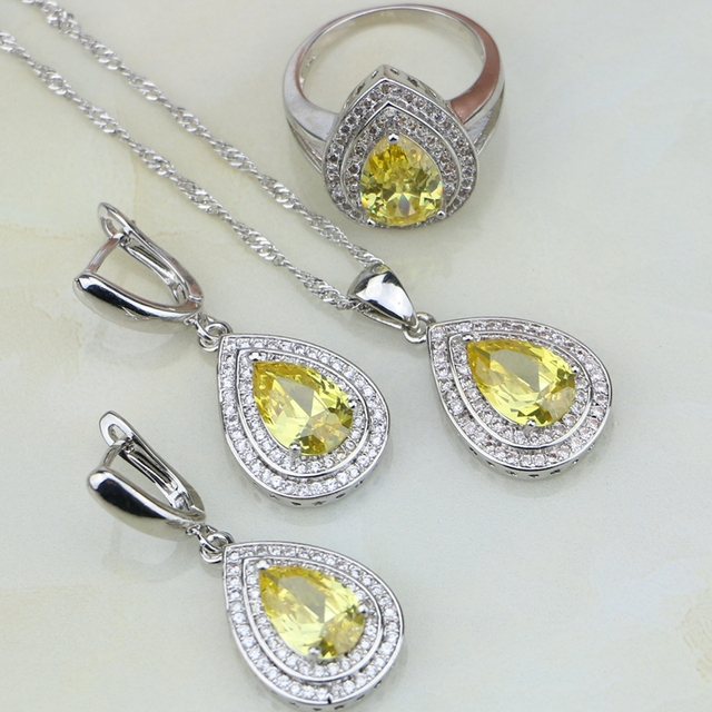 Yellow Cubic Zirconia White CZ Jewelry Sets 925 Sterling Silver Bridal Jewelry For Women Wedding Earring/Pendant/Necklace/Ring