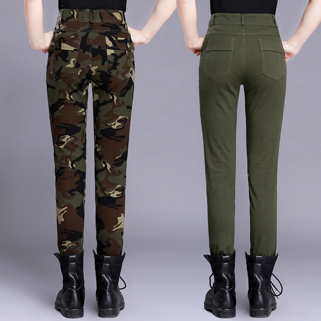 Summer Skinny High Waist Camouflage Casual Trousers Women Pants Slim Fit Female Cotton Elegant Army Green Capris