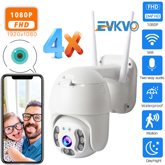EVKVO 1080P Security Camera WIFI Outdoor PTZ Speed Dome Wireless IP Camera CCTV Pan Tilt 4X Zoom IR Network Surveillance P2P CAM