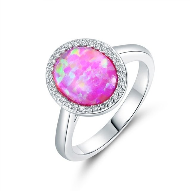 Fashion Jewelry Women Ring Vintage Rhinestones Pink Imitation Opal Finger Rings For Women Accessories Jewelry Gifts
