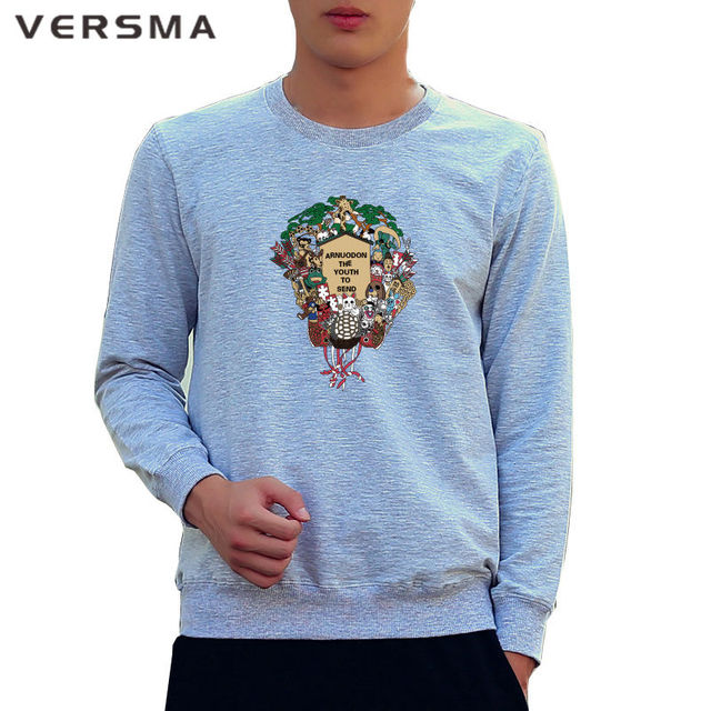 VERSMA Casual Style Men Autumn Tops Tees Printed Hoodie Sweatshirt Cotton Long Sleeve Design Hoodie Tracksuits Men Free Shipping