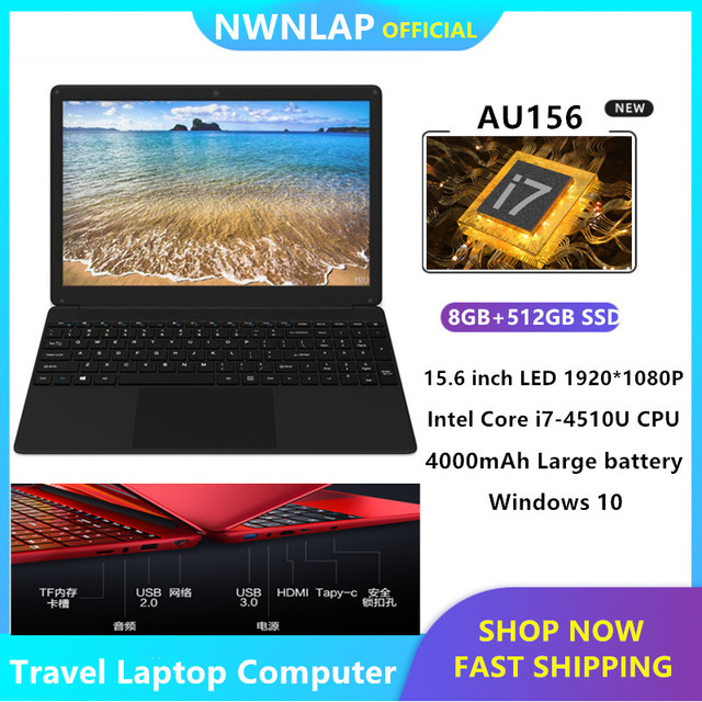 "8GB RAM+512GB Intel Core i7-4510u Quad Core 3.1GHz 15.6"" Windows10 notebook Computer PC Laptop USB3.0 Port on for SALE"