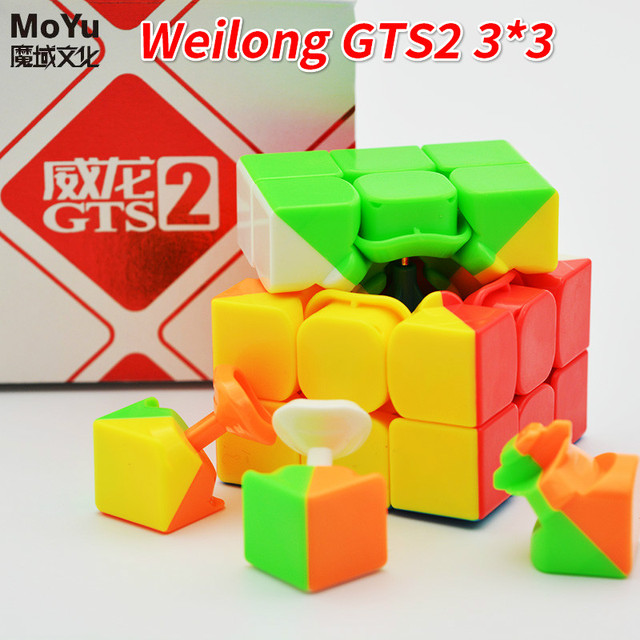 MoYu 3x3x3 Weilong GTS2 Version II MagicCube V2 Plastic Puzzle Speed Cube Weilong GTS 2 Puzzle Cube Toys For Child