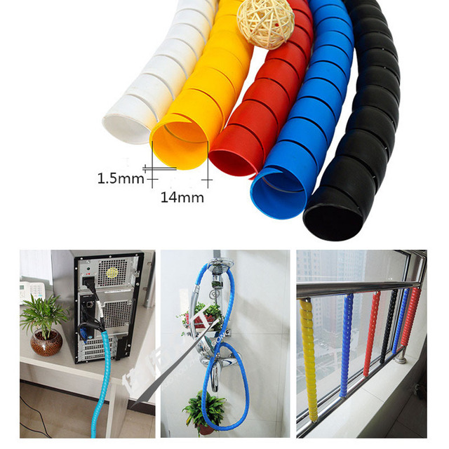 2m Line Pipe Protection Spiral Winding Cable Wire Cover Tube Organizer New