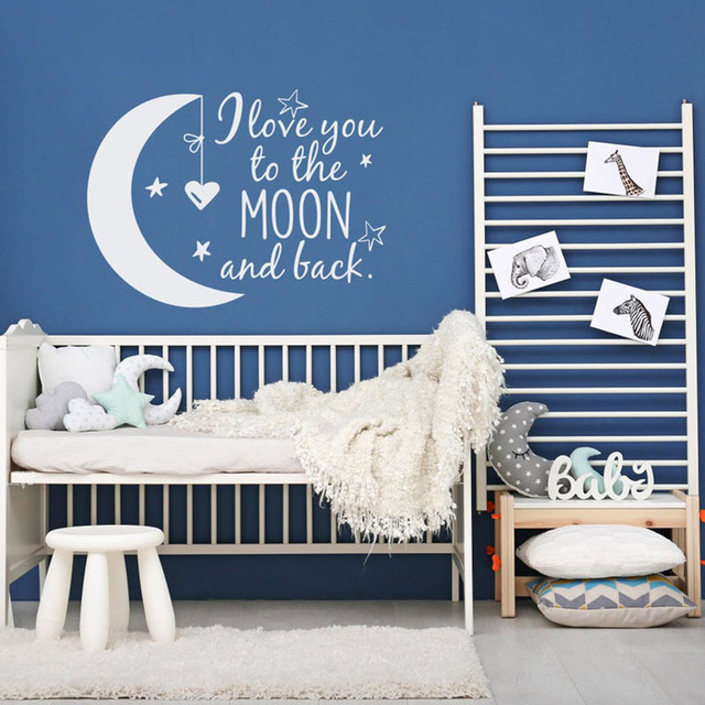 Nursery Wall Decor I Love You to the Moon and Back Wall Sticker Quote Vinyl Decals Home Interior Decor Bedroom A158