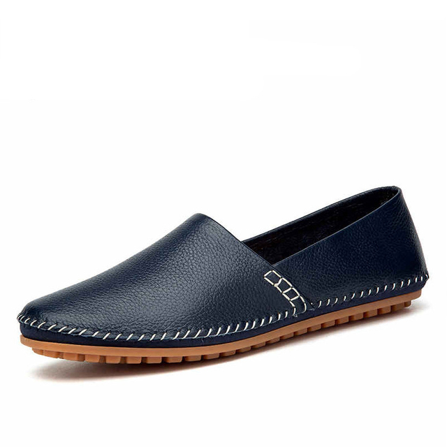 CcharmiX Genuine Leather Men Loafers Large Size 38-50 Slip On Black Blue White Mens Shooes Driving Moccasins Casual Male Flats