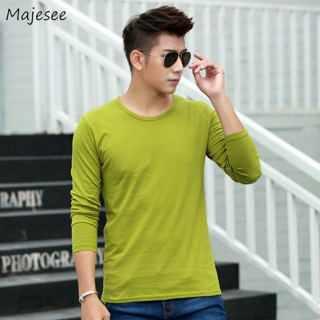 T-shirts Men Long Sleeve O-Neck Solid Simple All-match Slim Leisure Daily Soft High Quality T-shirt Mens Large Size Trendy Tops
