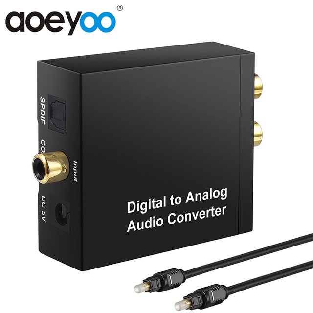 AOEYOO SPDIF Coaxial Toslink Audio Converter Digital To Analog Converter 192Khz  With RCA 3.5mm Audio Optical Cable For PS4 HDTV