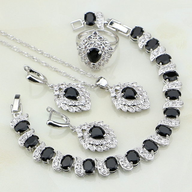 925 Sterling Silver Jewelry Black Cubic Zirconia White CZ Jewelry Sets For Women Wedding Earring/Pendant/Necklace/Bracelet/Ring