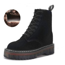 Motorcycle Platform Boots Women Wedge Shoes Autumn Winter Fur Fashion Round Toe Lace-up Genuine Leather Boots Ladies Shoes