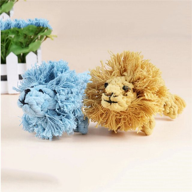 1 Piece Handmade Braided Funny Lion Pattern Dog Cotton Rope Toys Dogs Play Bite Toys Pet Chew Rope Toys Harmless Lion Style