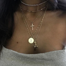 Abayabay Cross Necklace Multilayer Chain Women Rose Necklaces Jewelry Lovers Silver Color Vintage Personalized Girl Coin Collier