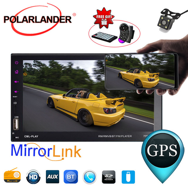 """7""""Bluetooth 2Din Hand-Free Radio Touch Screen With Camera For Android Phone Remote Control MP5 Player USB/FM/Aux Car Mirror Link"""